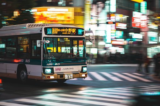 Transportation, Bus, Shibuya, Crossing, Night, Tokyo