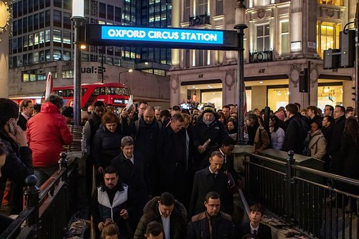 Oxford Circus Street Tube, Rush Hour, Tube Station