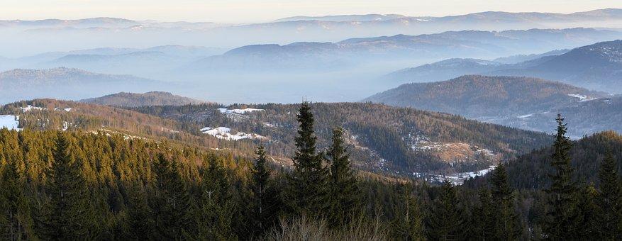 Panorama, Mountains, Morning, Beskids, Fog, Winter