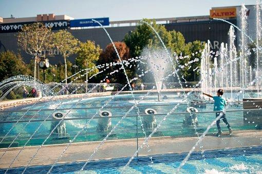 Landscape, Urban, Wells, Artesian, Jets, Water, Pool