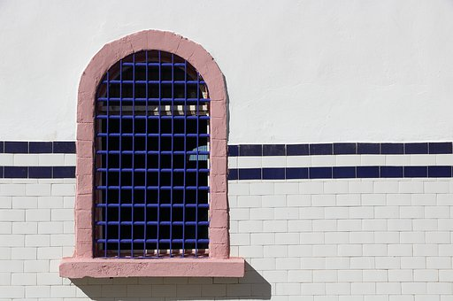 Morocco, Essaouira, Window, Bars, Tile, Tiled, Wall