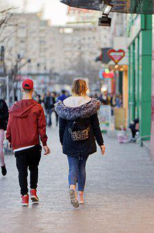 Couple, Young People, Girl, Blonde, Bag