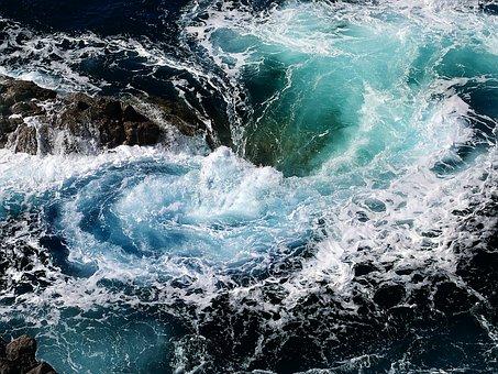 Waterpolo, Whirl, Sea, Ocean, Wave, Splash, Blue