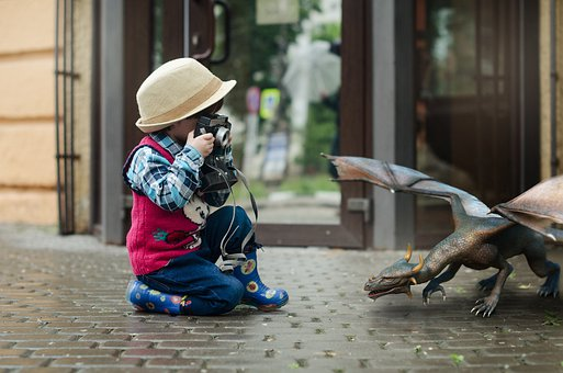 Boy, Dragon, Camera, Fantasy, Street, Hat, Brick