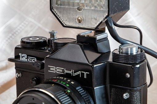 Camera, Lens, Flash, Retro