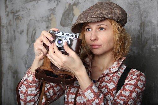 Retro, Photographer, Camera, Cap, Photo, Photos, Old