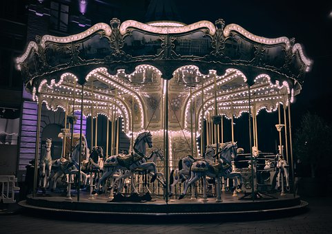Carousel, Night, Lights, Lighting, Light, City