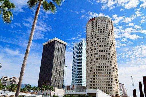 Tampa, Florida, Skyline, Water, City, Cityscape, Sky