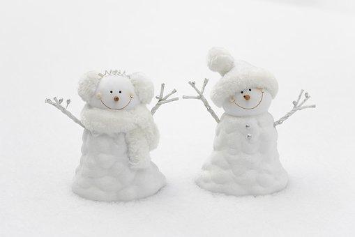 Snowman, Snow, Winter, Couple, Season, Cold, Cute