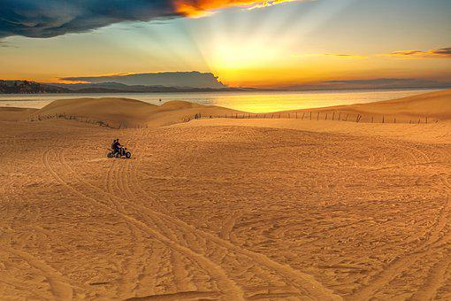 Desert, Sea, Sunset, Race, Dare, Quad