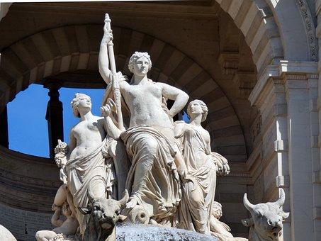 Marseille, Longchamp, Statue, Fountain