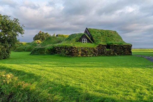 Iceland, Village, House, Green