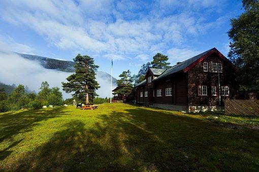 House, Building, Garden, Mountains, Reindalseter