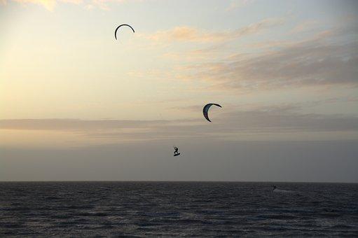 Kitesurfer, Kite, Abendstimmung, Kitesurfing