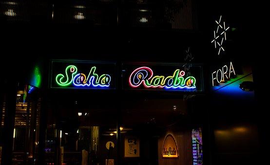 Soho Radio, Neon Sign, Soho, London, Uk