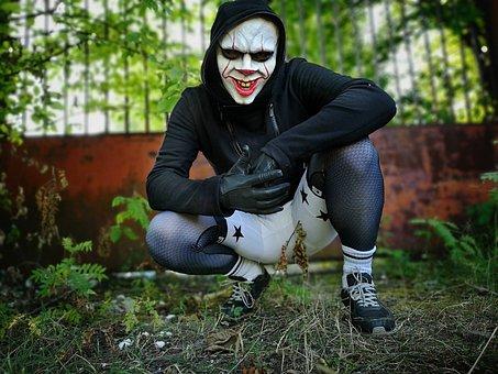 Evil, Clown, People, Halloween, Lycra, Gloves, Mask