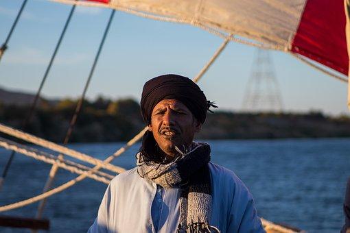 Egypt, Sailing, Man, Driver, Local, Dress, Traditional