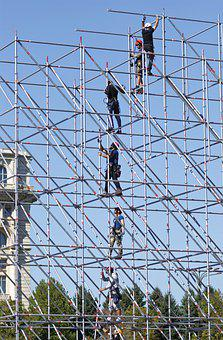People, Men, From The Top Of, Scaffolding, Install