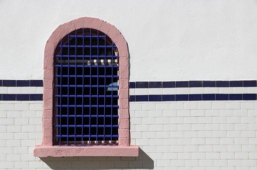 Morocco, Essaouira, Window, Bars, Tile