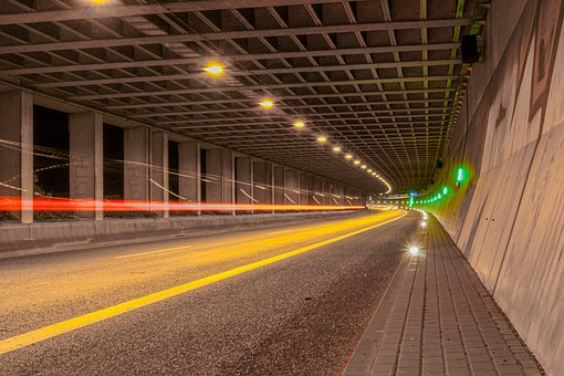 Long Exposure, Highway, Night, Tunnel, Emergency Exit