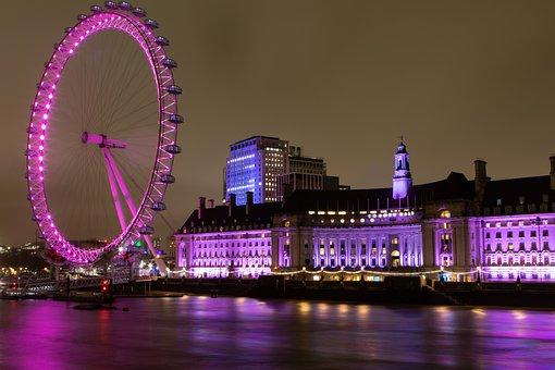 London Eye, Night Time, Thames, Purple, River