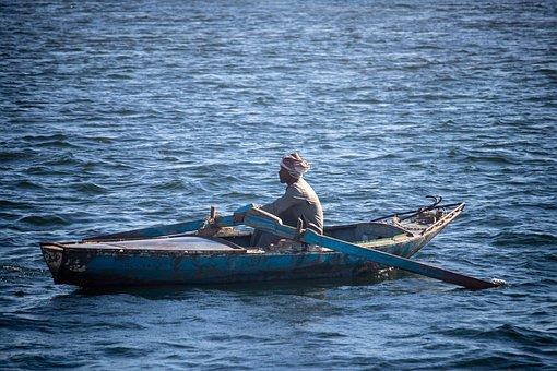 Nile, Boat, Rowing, Man, Transportation, Local, Egypt