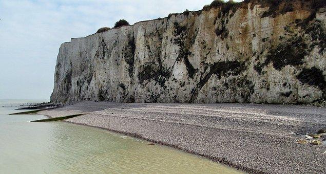 Normandy, Cliff, France, Sea, Beach, Side, Ocean