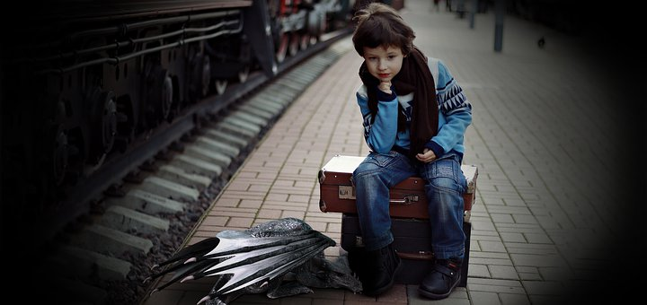 Boy And His Dragon, Portrait, Luggage, Train, Travel