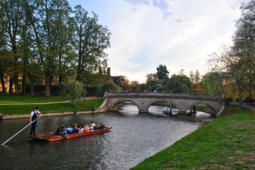 Punting, Cambridge, River, Bridge, University, Punt