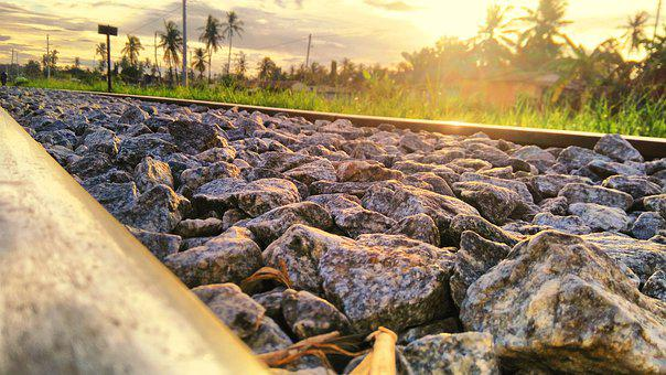 Sunset, Railways, Landscape, Rails, Love