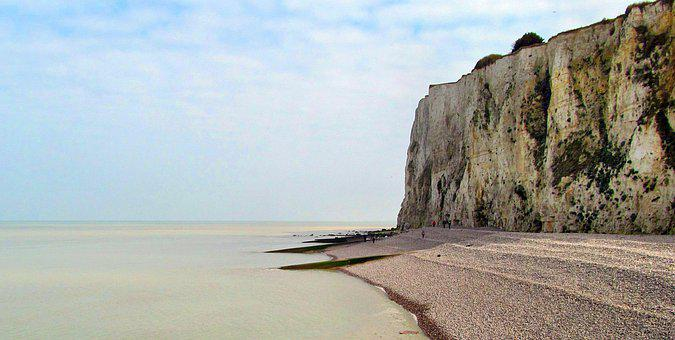 France, Normandy, Cliff, Sea, Side