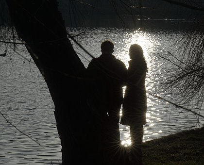 Silhouettes, People, Couple, Woman, Man