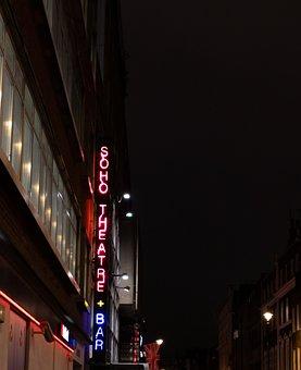 Soho Theater, London, Neon Sign, Soho, Signage