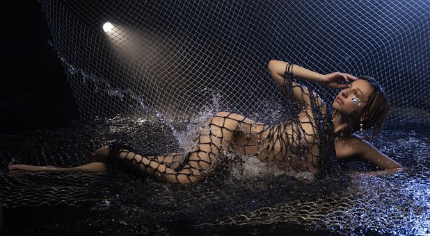 Nude, Body, Woman, Girl, Naked, Net, Water, Spray