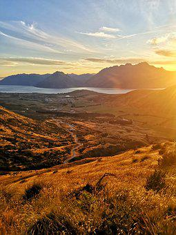 Queenstown, Sunset, Lake, Sky, Mountains, Nature