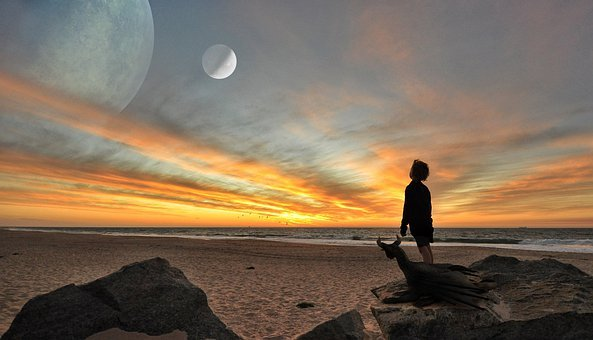 Boy, Dragon, Beach, Planet, Moon, Sunset