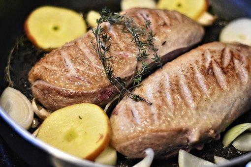 Meat, Duck, Duck Breast, Raw, Fry, Court, Tasty, Fried