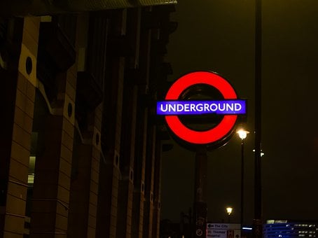 Underground Sign, London, Westminster, The City, Uk