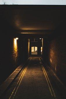 Tunnel, London, Walkway, Night Time, Urban, Passage