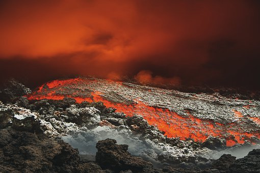Volcano, Eruption, Lava, Smoke, Rocks