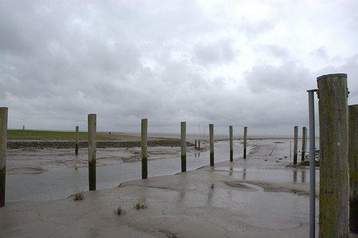 Wasserlöse, Waterway, Wadden Sea, North Sea, Ebb, Coast