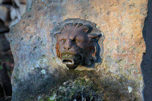 Lion Head, Water, Fountain, Rusty, Lion, Stone, Head