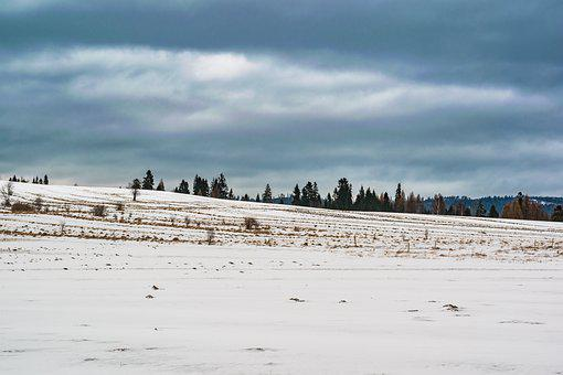 Winter, Landscape, Snow, Clouds, Cloudy, Dark, Nature