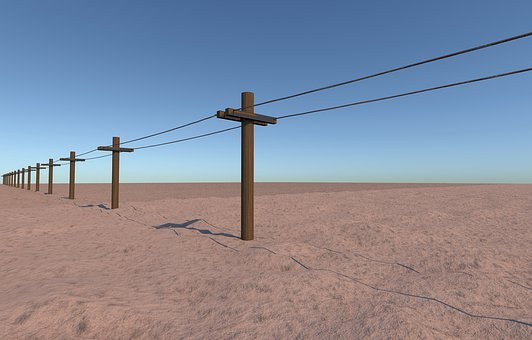 Telegraph, Wires, Posts, Telephone, Communication