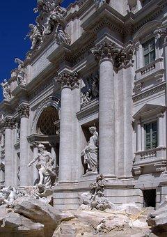 Italy, Rome, Fountain, Trevi, Statue, Architecture