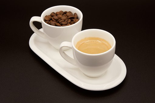 Espresso, Coffee, Beans, Cup, Coaster, Close Up, Macro