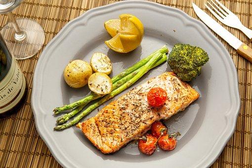 Salmon, Dish, Food, Seafood, Fish, Meal, Plate
