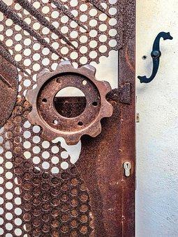 Door, Iron, Metal, Oxide, Portal, Input, Rusty