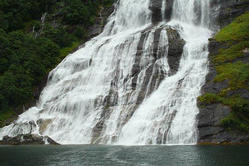 Scandinavia, Norway, Geirangerfjord, Waterfall, Fjord