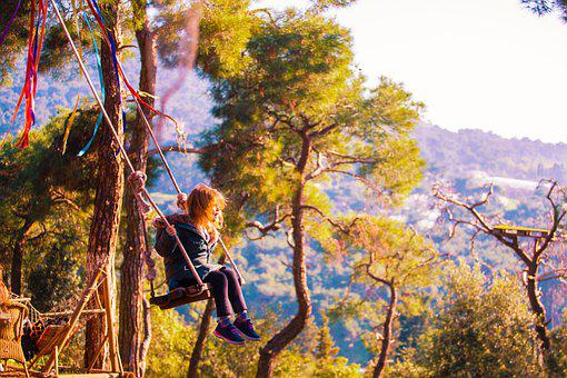 Girl, Swing, Forest, Nature, Mountains, Dream, Baby